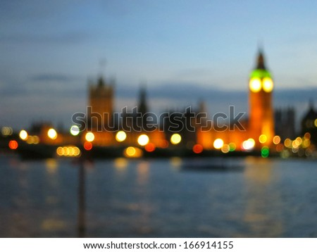 Defocused view of London with bokeh effect - stock photo