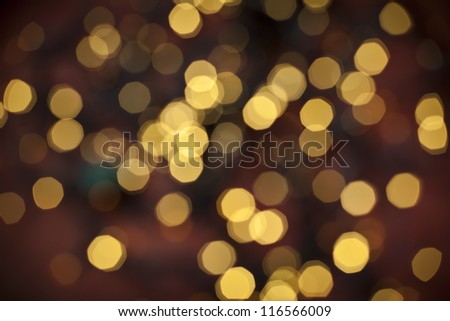 Defocused yellow abstract christmas background - stock photo