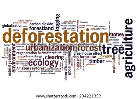 Deforestation issues and concepts word cloud illustration. Word collage concept.