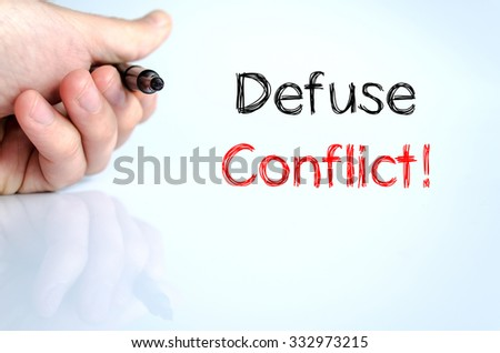 Defuse conflict text concept isolated over white background