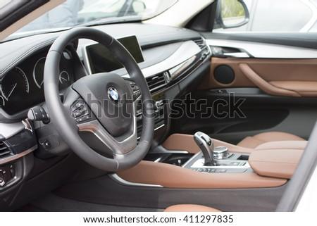Deggendorf, Germany - 23. APRIL 2016: interior of a 2016 BMW x6 Series SUV during the luxury cars presentation in Deggendorf. - stock photo