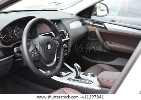 Deggendorf, Germany - 23. APRIL 2016: interior of a 2016 BMW x4 Series SUV during the luxury cars presentation in Deggendorf. - stock photo