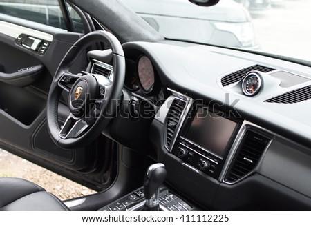 Deggendorf, Germany - 23. APRIL 2016: interior of a 2016 Porsche Macan Turbo SUV during the luxury cars presentation in Deggendorf. - stock photo