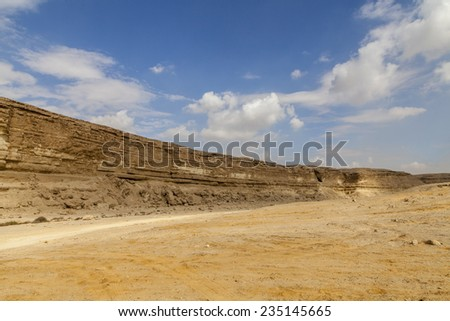 Degla valley  or Canyon of Degla (Wadi Degla) is one of the important valleys that extend from east to west with a length of 30 km  - stock photo