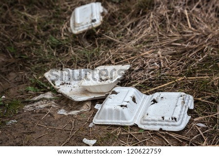 degradable plastic container in the outdoor - stock photo