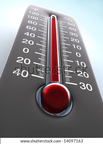 Degree of hotness, the thermometer shows the temperature on the ambience. - stock photo