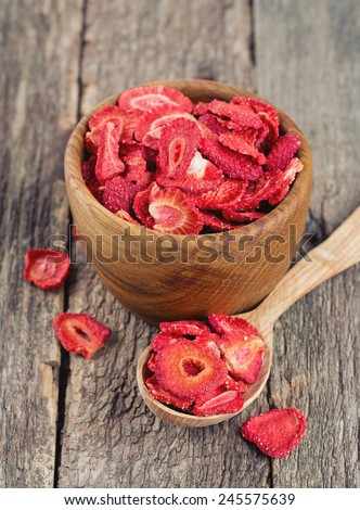 Dehydrated sliced strawberries - stock photo