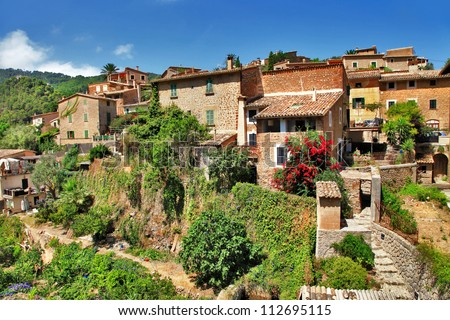Deia traditional stone village in Majorca Tramuntana mountain Balearic Spain - stock photo