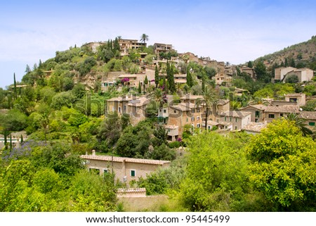 Deia typical stone village in Majorca Tramuntana mountain Balearic Spain - stock photo