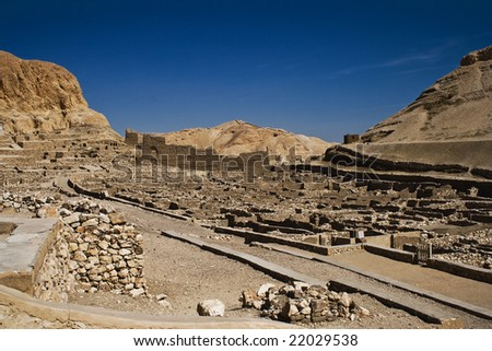 Deir el-Medina was inhabited by the workmen who built the royal tombs - stock photo