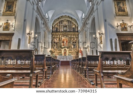 Del Pilar church interior located in Recoleta neighborhood at Buenos Aires, Argentina - stock photo