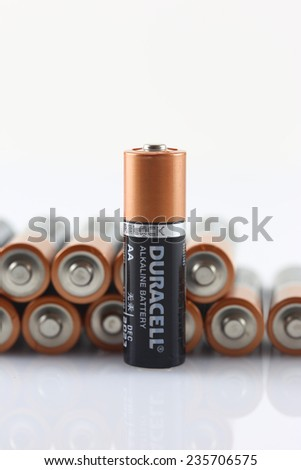 DeLand, FL, USA - December 6, 2014: Duracell batteries are now guaranteed for 10 years of storage life. - stock photo