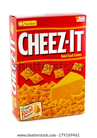 DELAND, FL, USA - FEB 27, 2014: Cheeze-It remains the more popular American cheese snack crackers.   - stock photo