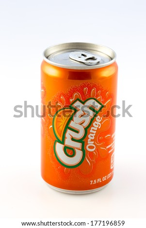 DeLand, FL, USA - February 14, 2014: A can of Orange Crush, the long time popular carbonated soft drink. - stock photo