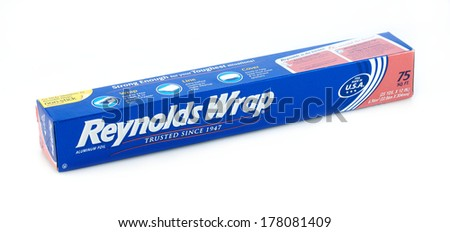 DeLand, FL, USA - February 21, 2014: Reynolds Wrap, the top brand of aluminum foil in the Untied States since 1947. - stock photo