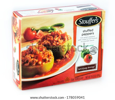 DeLand, FL, USA - February 19, 2014: Stouffer�s green peppers stuffed with beef and rice.  Stouffer�s is a popular brand of prepared frozen meals available in the United States and Canada - stock photo