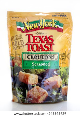 DeLand, FL, USA - January 9, 2015: New York brand, Texas Toast croutons available in zip packaging to maintain freshness. - stock photo