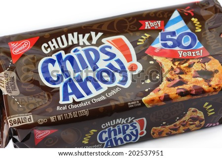 DeLand, FL, USA - June 29, 2014: Nabisco Chips Ahoy cookies have been a popular chocolate chip cookie for 50 years. - stock photo