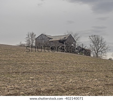 Delapidated old barn on hill in cornfield in rural PA - stock photo