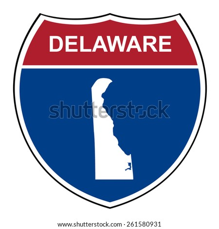 Delaware American interstate highway road shield isolated on a white background. - stock photo