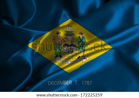 Delaware flag on satin texture. - stock photo