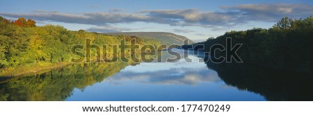 Delaware River in Autumn, near Port Jarvis, Pennsylvania - stock photo