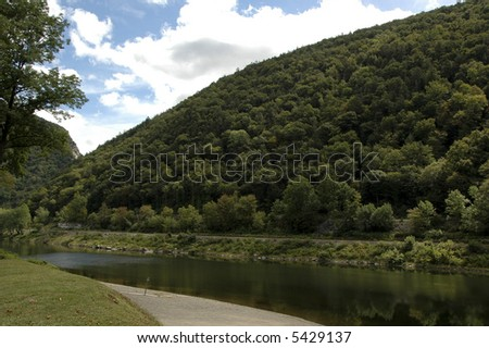 Delaware River in Delaware Water Gap, Pennsylvania - stock photo