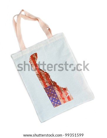 Delaware state of the United States of America in grunge flag pattern on white shopping bag isolated on white background - stock photo