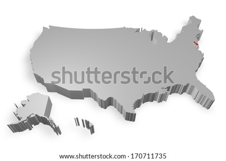 Delaware state on Map of USA 3d model on white background