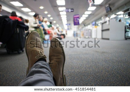delayed flight passenger in the  of the airport.  - stock photo