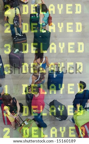 Delayed Travelers at the Airport - stock photo