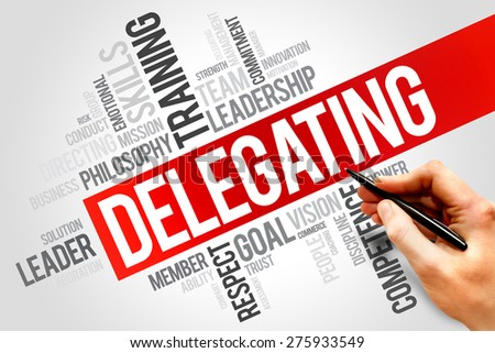 DELEGATING word cloud, business concept - stock photo