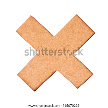 Delete button or Wrong mark icon symbol of wood texture on white background