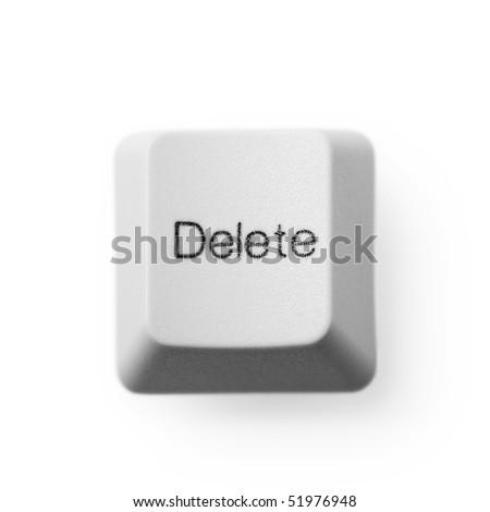 Delete computer key button isolated on white. Eraser concept. - stock photo