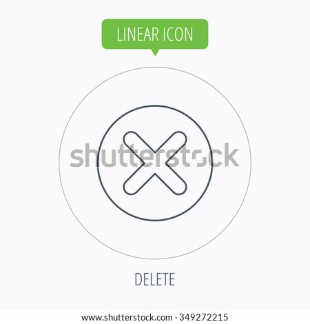 Delete icon. Decline or Remove sign. Cancel symbol. Linear outline circle button.  - stock photo