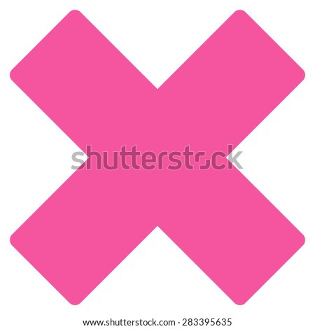 Delete icon from Basic Plain Icon Set. Style: flat symbol icon, pink color, rounded angles, white background. - stock photo