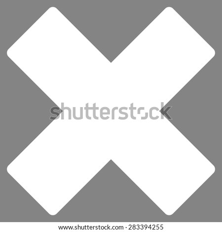Delete icon from Basic Plain Icon Set. Style: flat symbol icon, white color, rounded angles, gray background. - stock photo