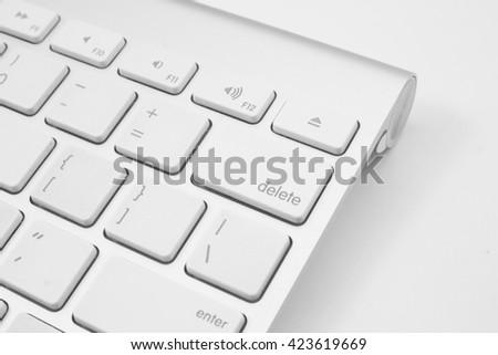 delete key on keyboard - stock photo