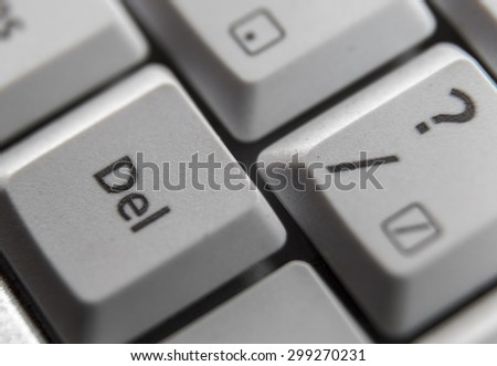 Delete key shown on a computer keyboard