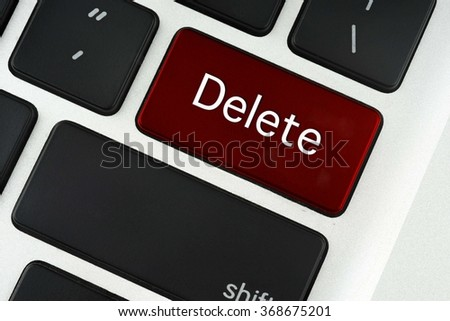 Delete text on red keyboard button - financial, business, online and data concept - stock photo