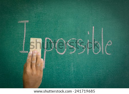 Delete the word impossible letter M on board. - stock photo