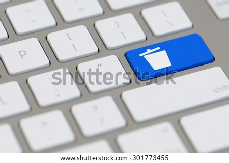 Delete trashcan icon on a blue key on a computer keyboard (3D Rendering) - stock photo