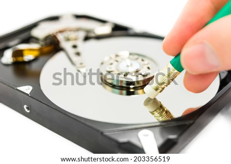 Deleting data from the harddisk - stock photo