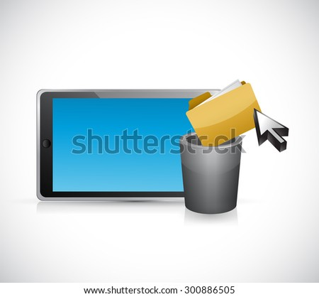 deleting files form a tablet computer. concept illustration design graphic - stock photo