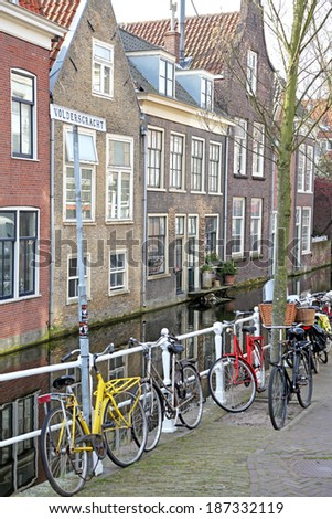 DELFT, NETHERLANDS - APRIL 2: Water canal in the centre of the city Delft on April 2, 2014 in Delft