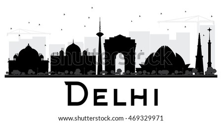Delhi City skyline black and white silhouette. Simple flat concept for tourism presentation, banner, placard or web site. Business travel concept. Cityscape with landmarks