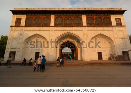 Delhi, India - APRIL 26: Tourist walk in Red Fort which is the most popular landmark of Delhi in, April 26, 2016, Delhi, India. Delhi is a capital city of India.