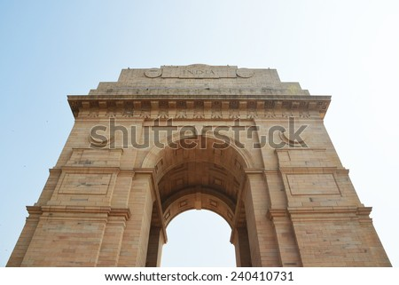 Delhi, India - December 6 2013: The India Gate is a war memorial for 82,000 soldiers of the undivided Indian Army who died in the period 1914-21 in the First World War. - stock photo