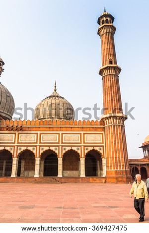 DELHI, INDIA - JAN 18, 2016: Jama Masjid, Old town of Delhi, India. It is the principal mosque in Delhi