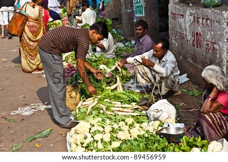DELHI, INDIA - NOV 9: Chawri Bazar is a specialized wholesale market of food and vegetables on November 00, 2011 in Delhi, India. Established in 1840, it was the first wholesale market of Old Delhi, - stock photo